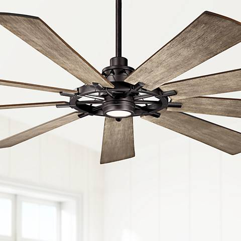 "85"" Kichler Gentry XL Anvil Iron LED Ceiling Fan"