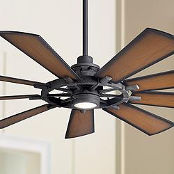 "65"" Kichler Gentry Distressed Black LED Ceiling Fan"