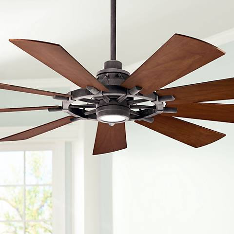 65 Quot Kichler Gentry Weathered Zinc Led Ceiling Fan 65c55