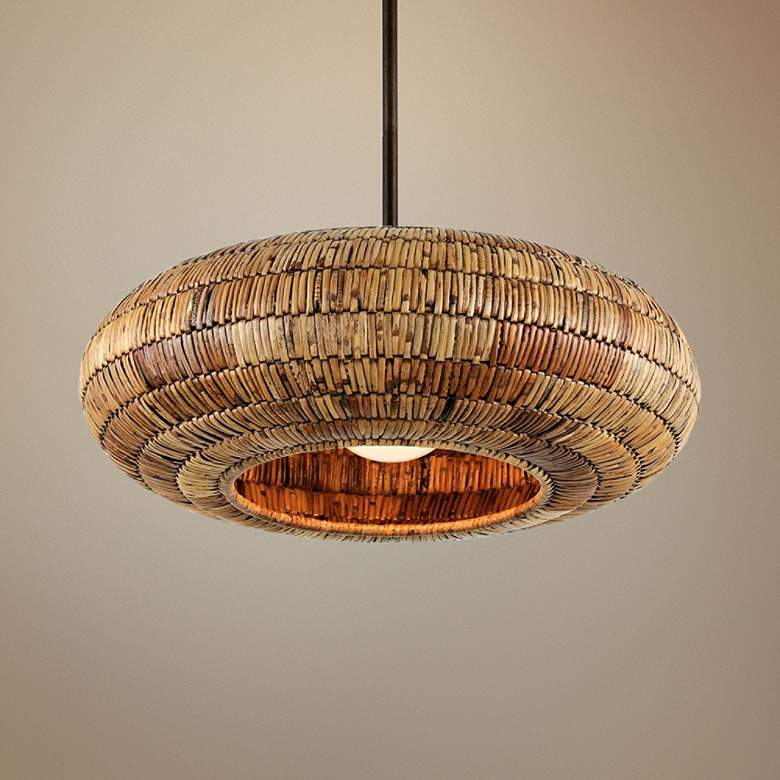 "Breuer 24""W Bronze Pendant Light with Natural Malacca"