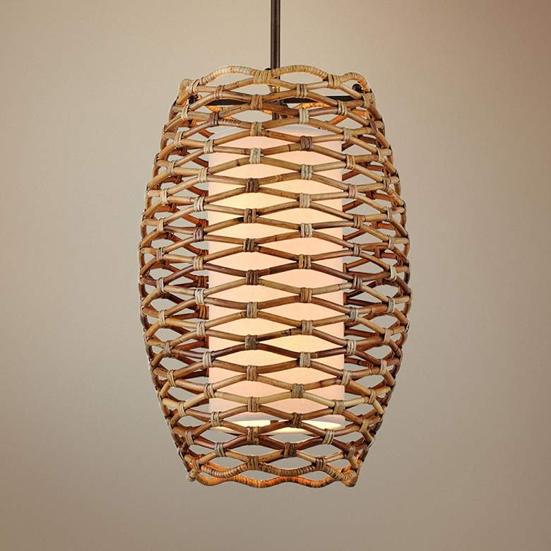 "Balboa 21"" Wide Natural Pendant Light with Cream Linen Shade"