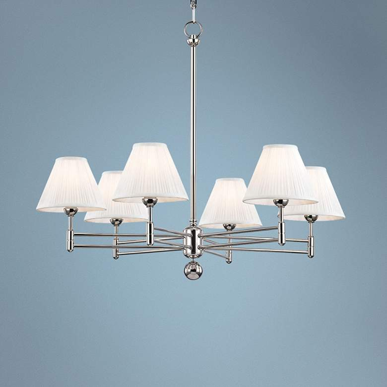 "Classic No.1 32"" Wide Polished Nickel 6-Light Chandelier"