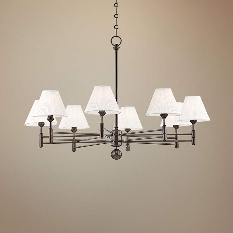 "Classic No.1 40"" Wide Distressed Bronze 8-Light Chandelier"