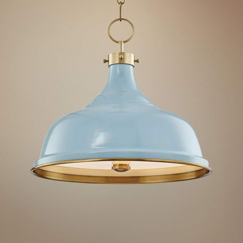 "Painted No.1 18""W Aged Brass Pendant with Blue Bird Shade"