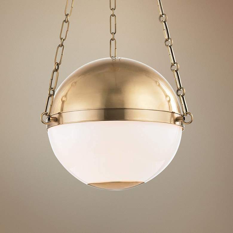 "Sphere No.2 16 1/2"" Wide Aged Brass Pendant Light"