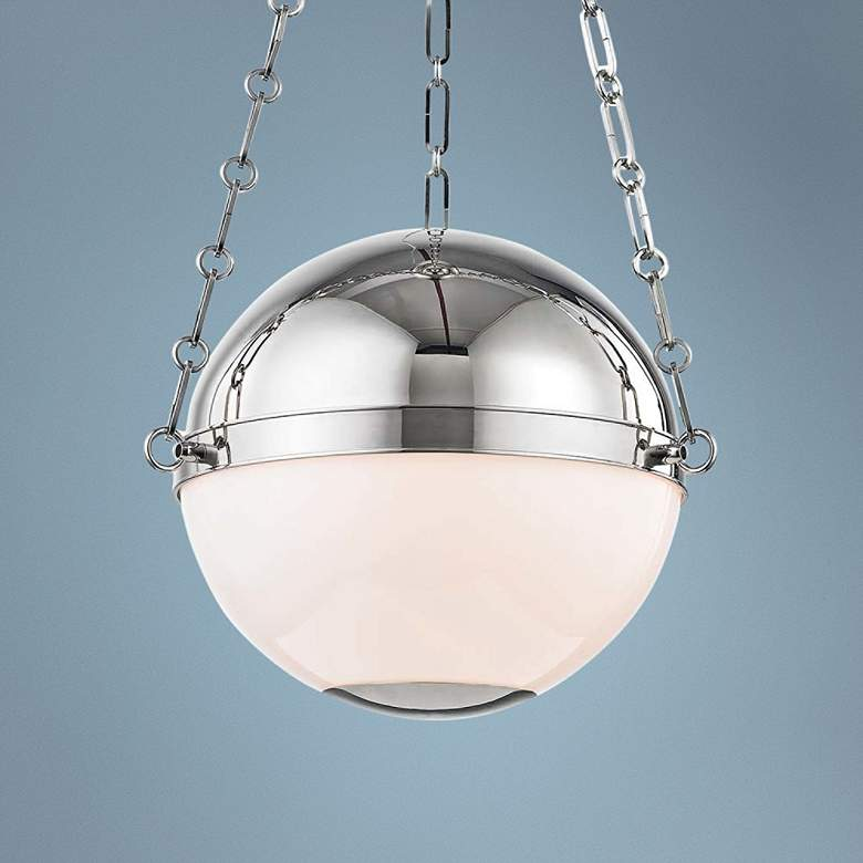 "Sphere No.2 16 1/2"" Wide Polished Nickel Pendant Light"