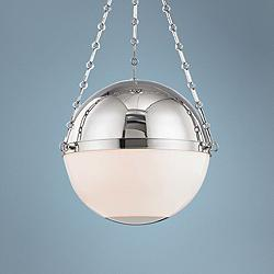 "Sphere No.2 20 1/2"" Wide Polished Nickel Pendant Light"