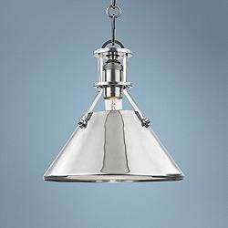 "Metal No.2 9 1/2"" Wide Polished Nickel Mini Pendant"