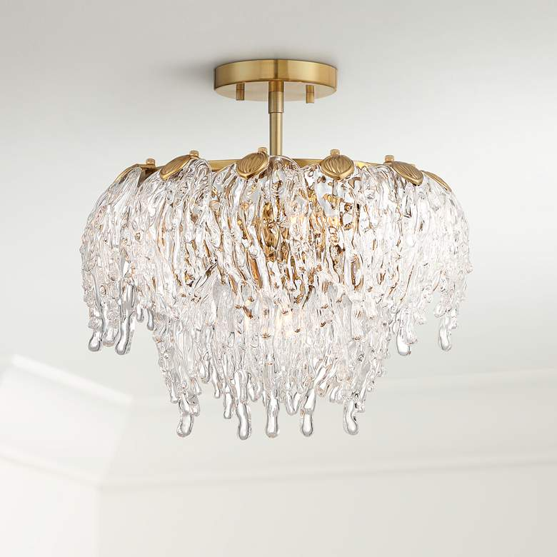 "Zavala 14 1/4"" Wide Brass and Glass Ceiling Light"
