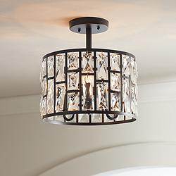 "Sofie 11 3/4"" Wide Black and Crystal Ceiling Light"