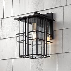 "Possini Euro Arley 16"" High Black Outdoor Wall Light"
