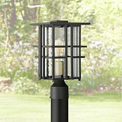 "Possini Euro Arley 13 3/4"" High Black Outdoor Post Light"