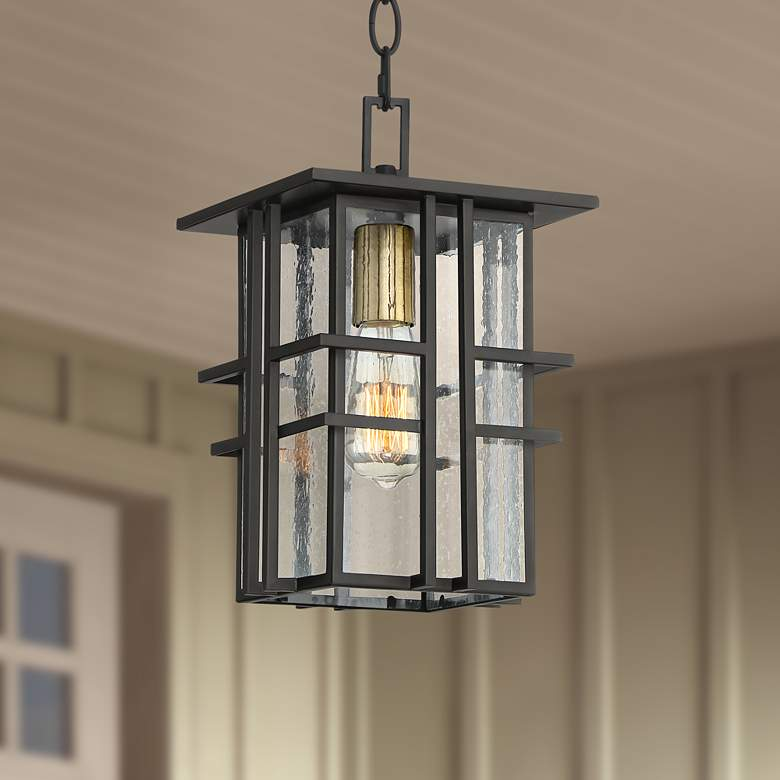 "Possini Euro Arley 12 1/2"" High Black Outdoor Hanging Light"