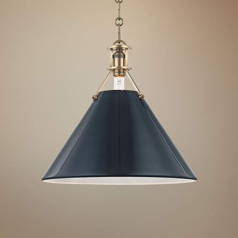 "Painted No.2 16""W Aged Brass Pendant with Darkest Blue Shade"