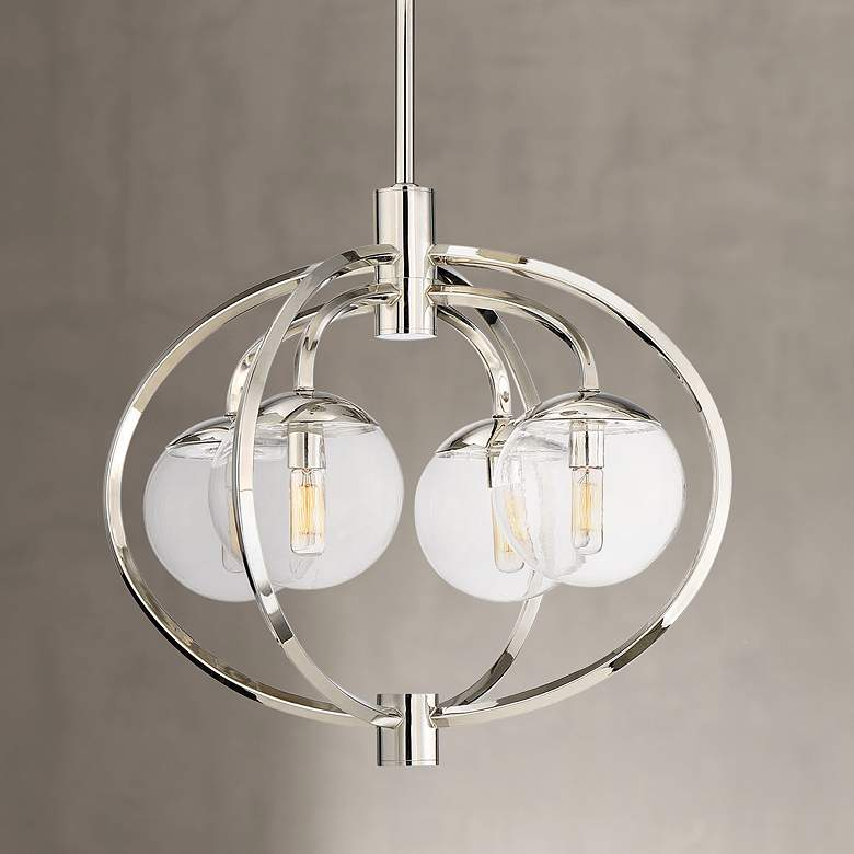 "Craftmade Piltz 22"" Wide Polished Nickel 4-Light Chandelier"