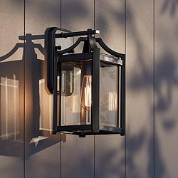 "Rockford Collection 12 1/2"" High Black Outdoor Wall Light"