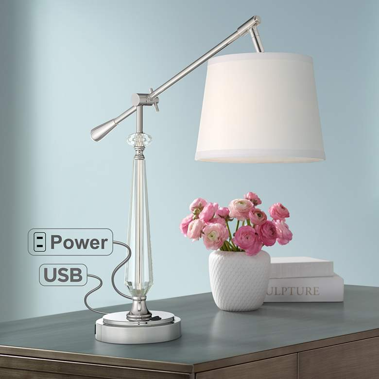 Clarita Crystal Boom Arm Desk Lamp with USB Port and Outlet