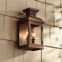 "Possini Euro Cobb 13 1/2""H Painted Copper Outdoor Wall Light"
