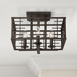 "Pascal 14"" Wide Bronze 4-Light Ceiling Light"