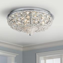 "Jenn 15 1/2""W Chrome and Crystal LED Ceiling Light"