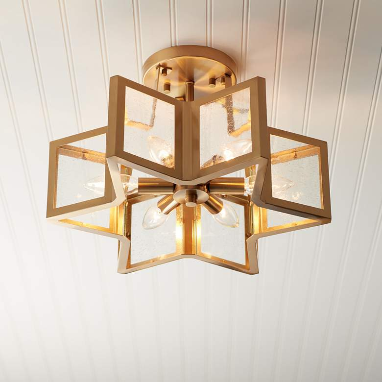 "Casa Star 16"" Wide Warm Antique Brass 6-Light"