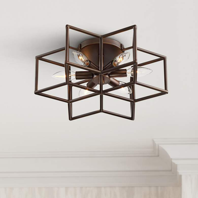 Cosmos 6-Point Star Oil-Rubbed Bronze 6-Light Ceiling Light