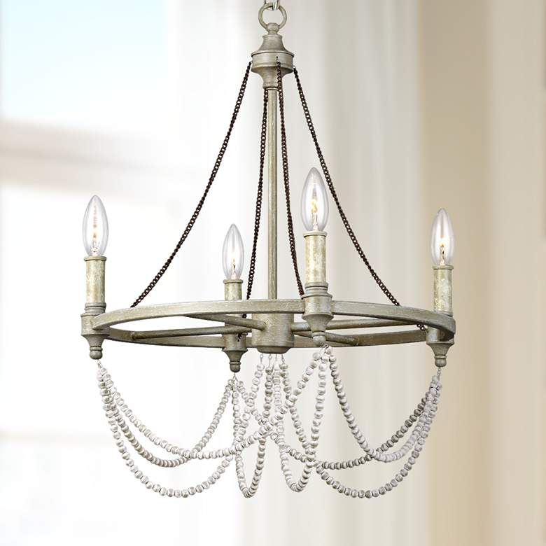 "Feiss Beverly 18"" Wide 4-Light French Washed Oak Chandelier"