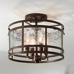 "Elwood 13 1/4"" Wide Oil-Rubbed Bronze 4-Light Ceiling Light"