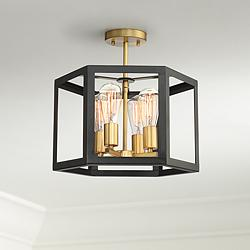 "Possini Euro Beni 16"" Wide Bronze 4-Light Ceiling Light"