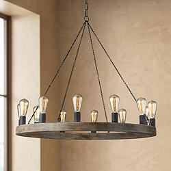 "Feiss Avenir 36"" Wide 12-Light Weathered Oak Wood Chandelier"