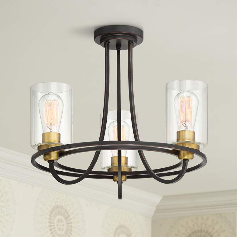 "Possini Euro Demy 20"" Wide 3-Light Bronze-Gold Ceiling"