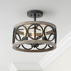 "Salima 16"" Wide Black and Gray Wood 3-Light Ceiling Light"