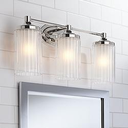 "Possini Euro Dembry 22 1/2"" Wide Double Glass Bath Light"