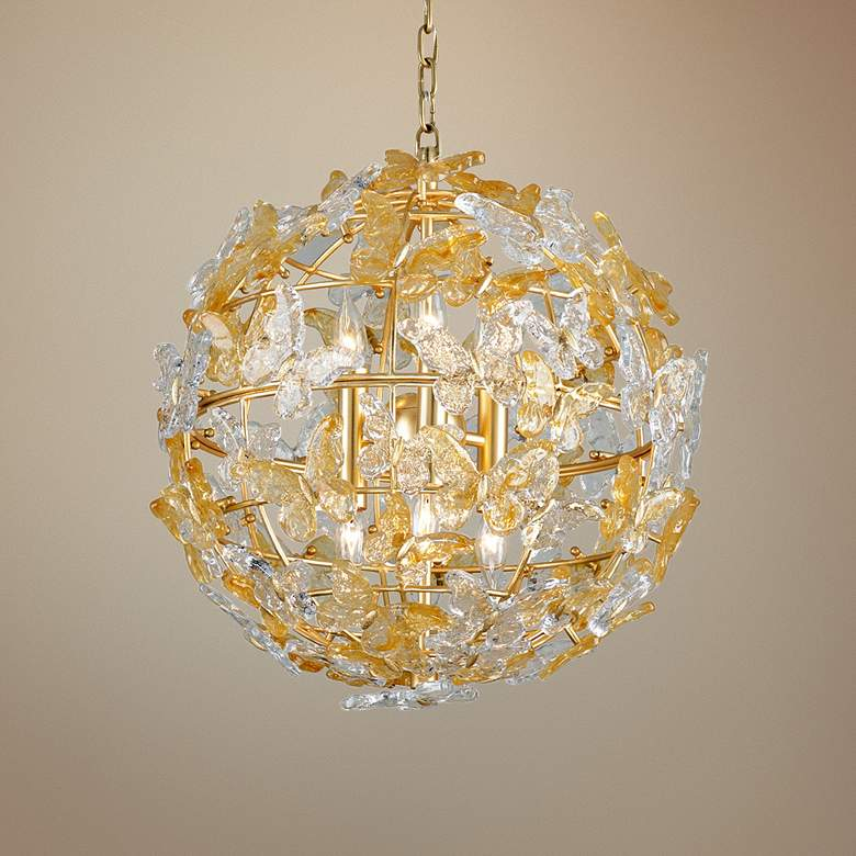 "Corbett Milan 20"" Wide Gold Leaf Butterflies Pendant Light"