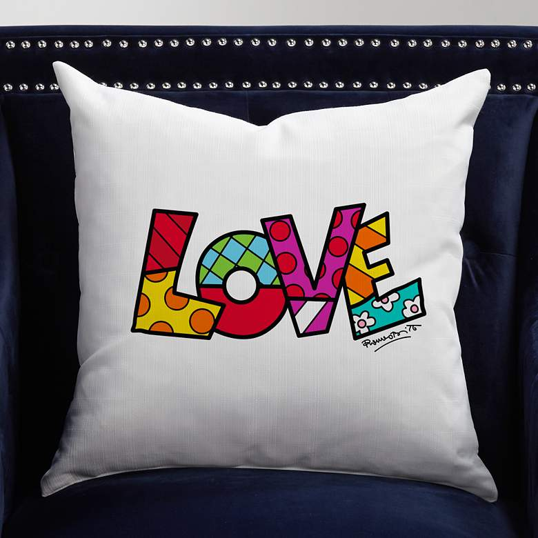 "Romero Britto Love 18"" Square Throw Pillow"