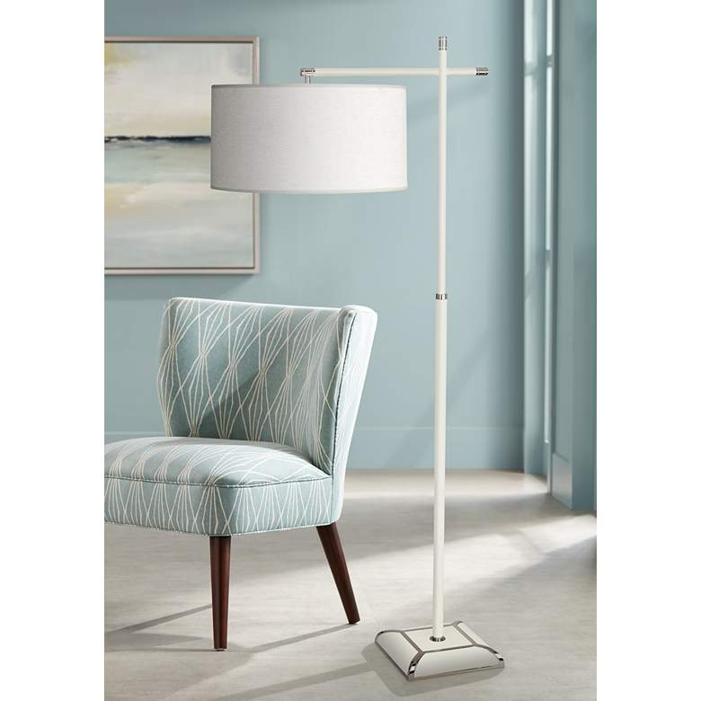 Robert Abbey Ranger Glossy White Painted Metal Floor Lamp
