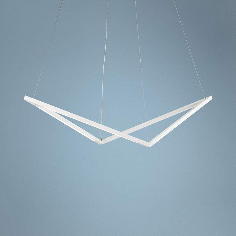 "Koncept Z-Bar Bird 34"" Wide Matte White LED Pendant Light"