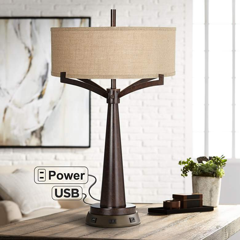Tremont Bronze Iron Table Lamp with Workstation Base