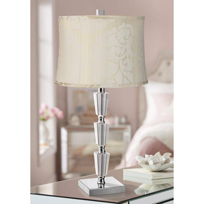 Deco Collection Stacked Crystal Table Lamp with Cream