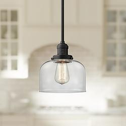 "Large Bell 8"" Wide Oil-Rubbed Bronze Swiveling Mini Pendant"