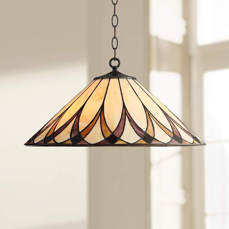 "Serena 19 3/4"" Wide Amber Accented Art Glass 3-Light Pendant"