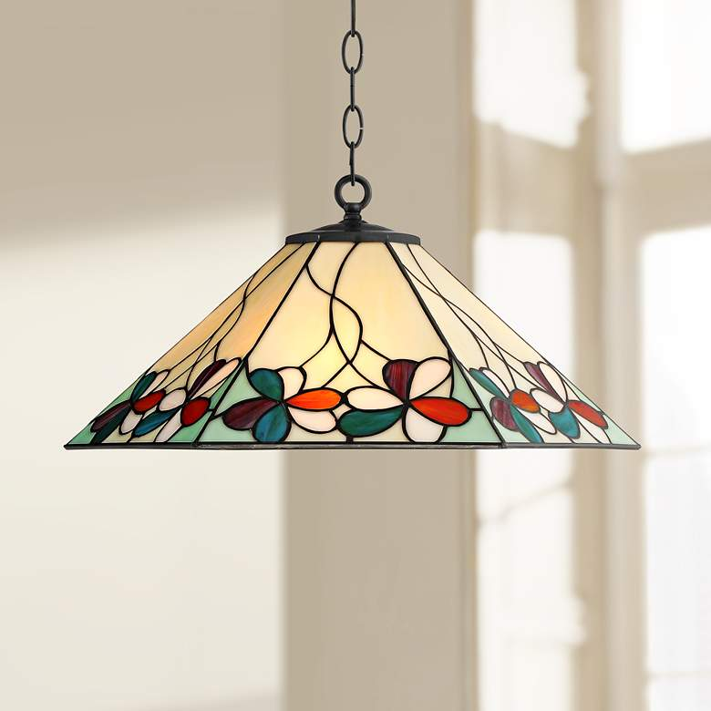 "Fiona 20"" Wide Floral Art Glass 3-Light Pendant Light"