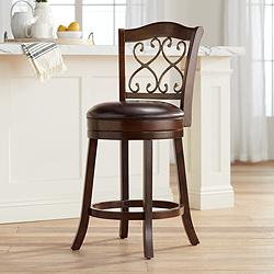 "Newton II 26"" Brown Faux Leather Swivel Counter Stool"