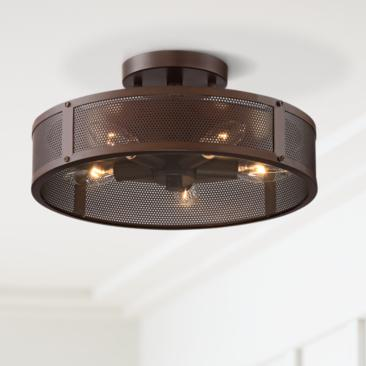 "Revel 13"" Wide Oil-Rubbed Bronze Mesh 5-Light Ceiling Light"