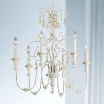 "Scrolled Tiers 28"" Wide Antique White 6-Light Chandelier"