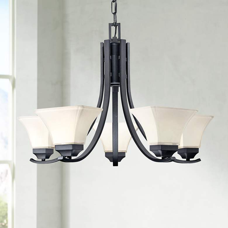 "Agilis Collection 27"" Wide Black Chandelier"