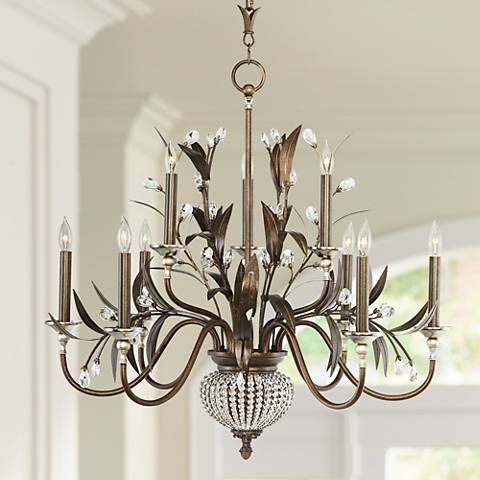 "Cristal de Lisbon Collection 32"" Wide Two Tier Chandelier"