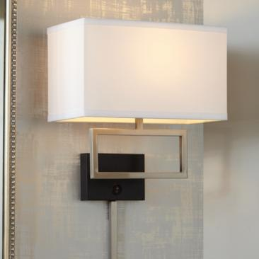 Trixie Brushed Nickel Rectangle Plug-In Wall Lamp