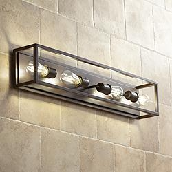 "Possini Euro Leonie 34""W Bronze 4-Light Bath Light"