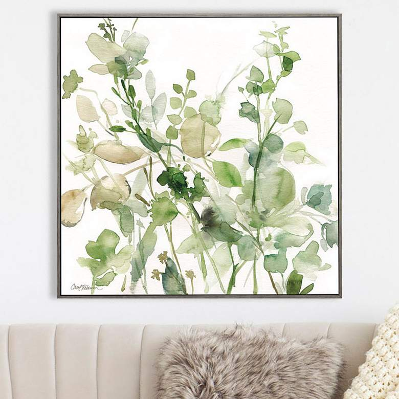"Sage Garden II 30"" Square Stretched Framed Canvas Wall Art"